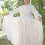 pollera blanca con alforzas